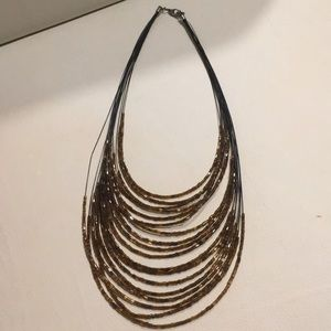 Jewelry - African Import 20 Strand Brown Bead Necklace